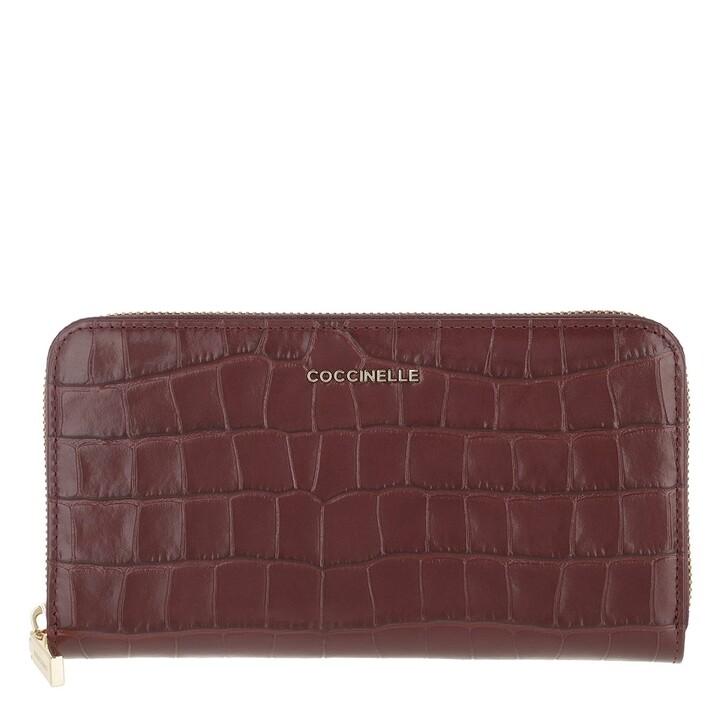 Geldbörse, Coccinelle, Metallic Croco Shiny Soft Wallet Marsala