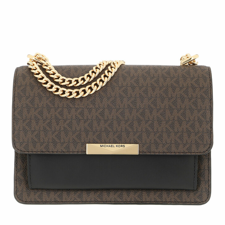 bags, MICHAEL Michael Kors, Jade Large Gusset Shoulder Brown/Black