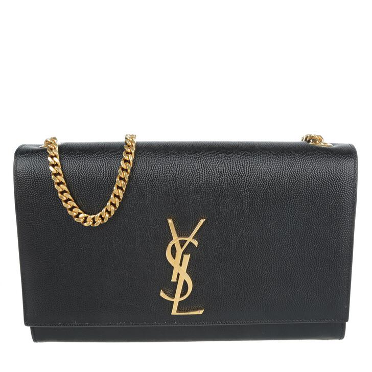 Handtasche, Saint Laurent, YSL Chain Clutch Grain De Poudre Black