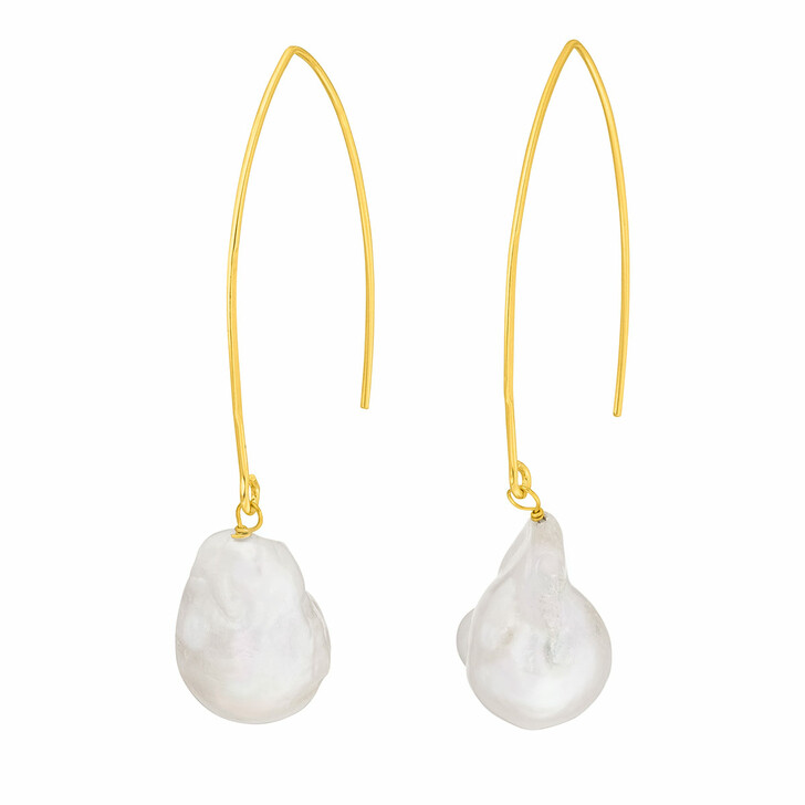 Ohrring, Leaf, Drops Pearls Yellow Gold