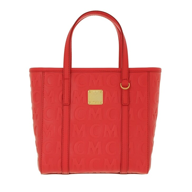 Handtasche, MCM, Toni Monogramme Leather Shopper Mini Poppy Red