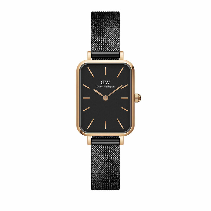 watches, Daniel Wellington, Watch Quadro 20X26 Pressed Ashfield Rosegold Black