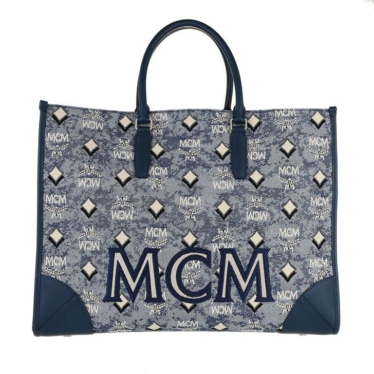 bags, MCM, Visetos Jacquard Tote Large Lu Blue