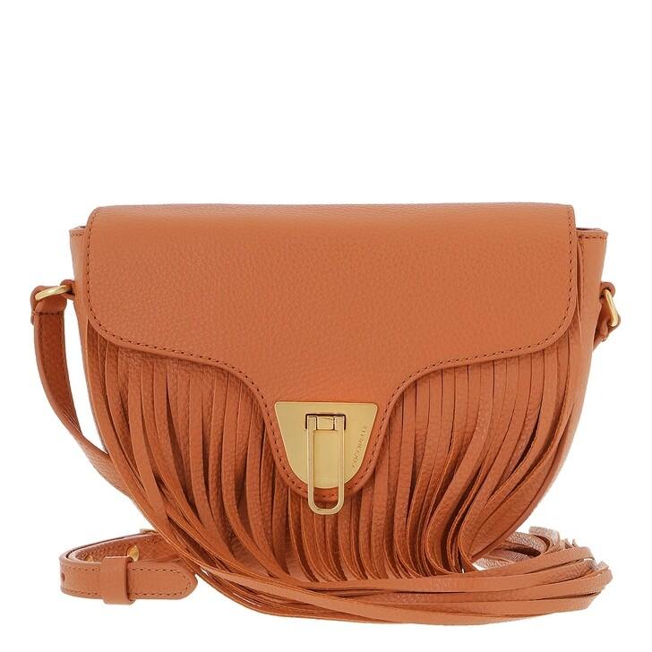 bags, Coccinelle, Coccinelle Beat Frange Handbag Grainy Leather Chestnut
