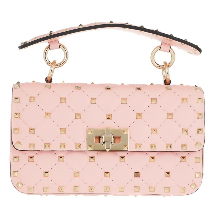 Handtasche, Valentino Garavani, Medium Rockstud Crossbody Leather Rosequartz