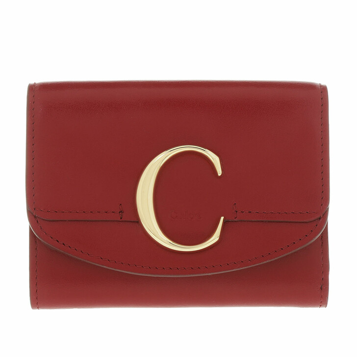 wallets, Chloé, Small Trifold Wallet Shiny Calfskin Smoked Red