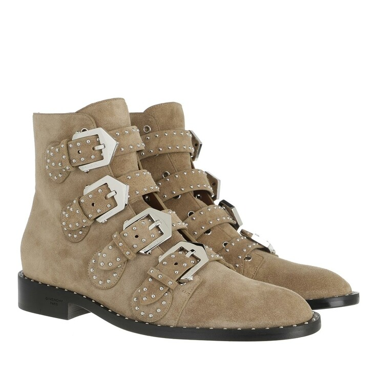 Schuh, Givenchy, Buckled Ankle Boots Suede Pumice Beige