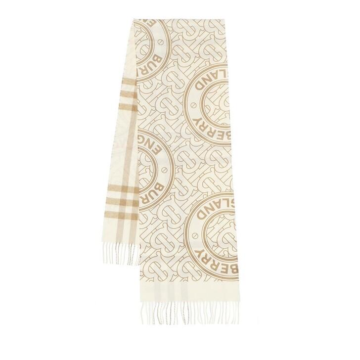 scarves, Burberry, Monogram Scarf White
