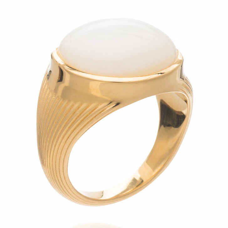 Ring, Rachel Jackson London, Round Mother of Pearl Cabachon Statement Ring Gold
