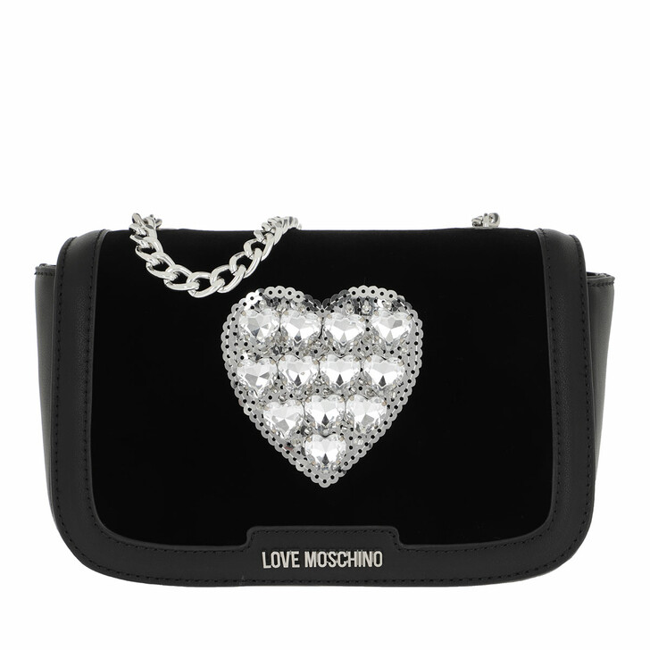 Handtasche, Love Moschino, Heart Crossbody Bag Velvet Nero