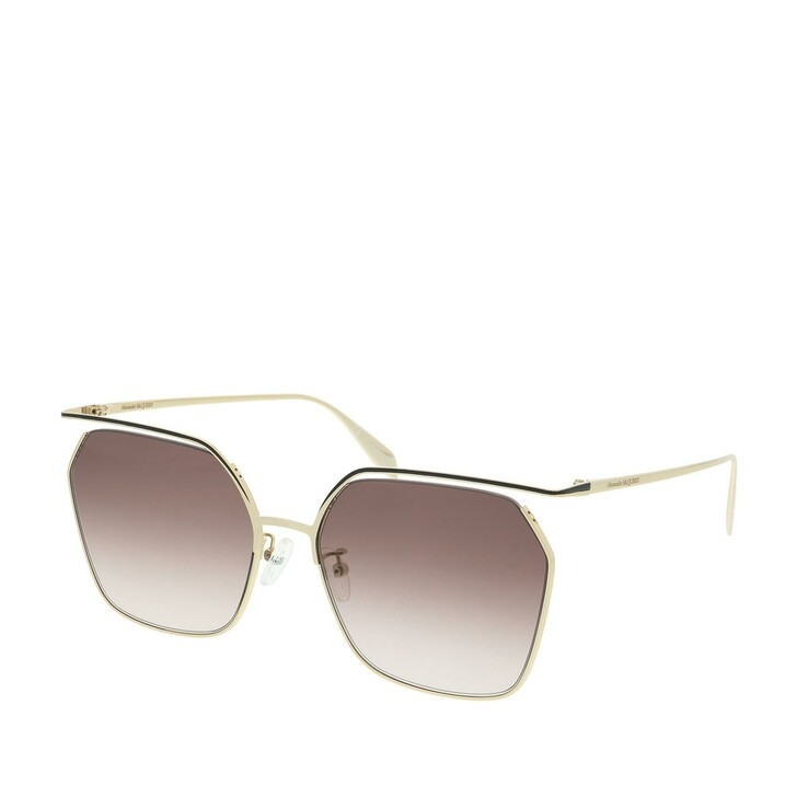 Sonnenbrille, Alexander McQueen, AM0254S-002 61 Sunglasses Gold-Gold-Brown