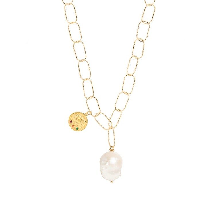 Kette, Hermina Athens, Kressida Lost Sea Necklace 50cm Yellow Gold