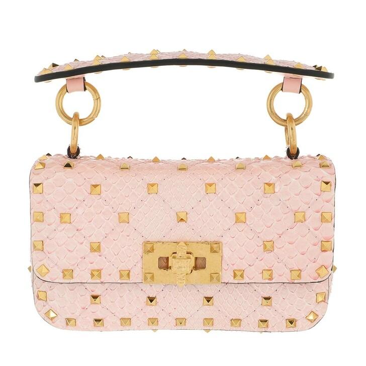 Handtasche, Valentino Garavani, Rockstud Crossbody Bag Snakeskin Rose Quartz