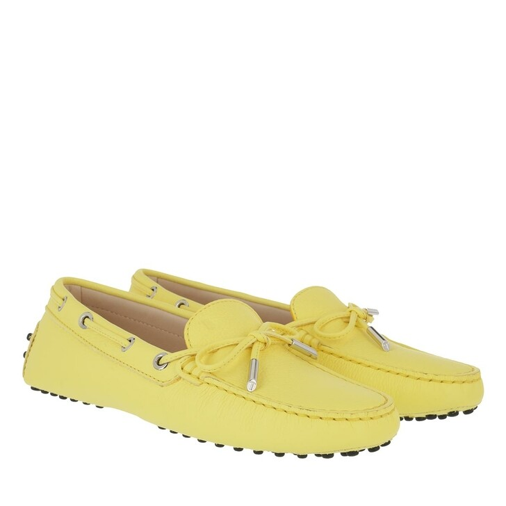 Schuh, Tod's, Heaven Loafer With Eyelets And Lace Bow Light Yellow