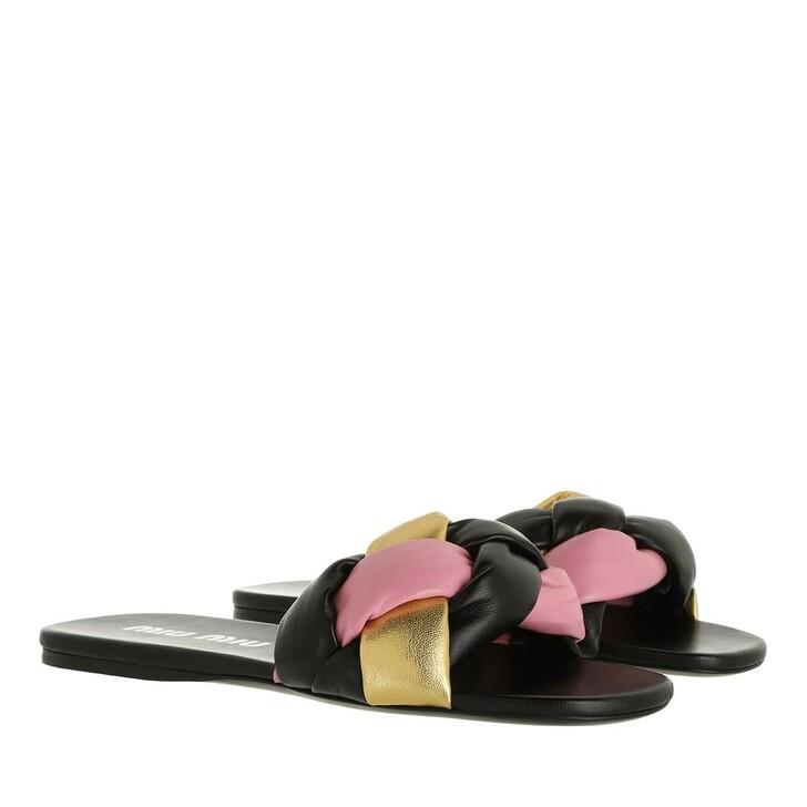Schuh, Miu Miu, Padded Flat Sandals Leather Multicolor