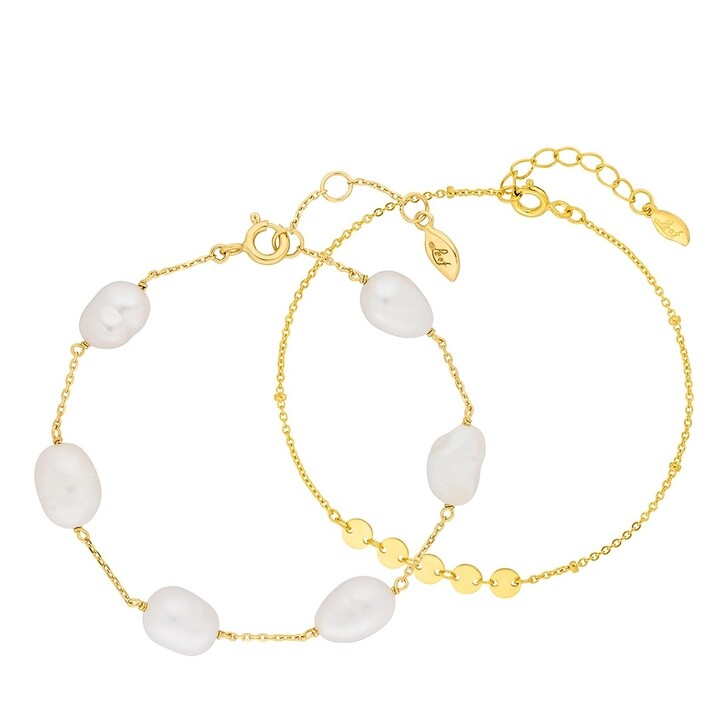 Armreif, Leaf, Bracelet Set Little Shiny and Pearls Yellow Gold