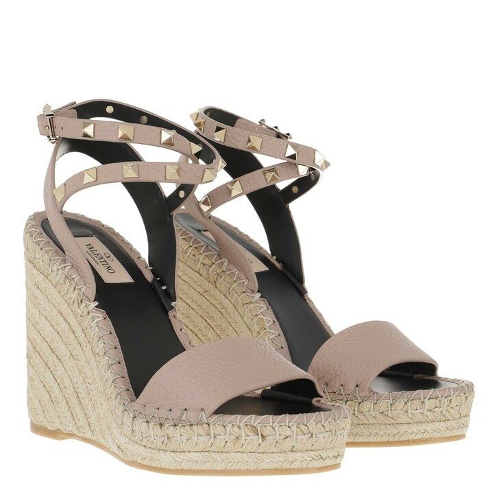 Schuh, Valentino Garavani, Rockstud Double Wedge Sandal Calfskin Leather Poudre/Black