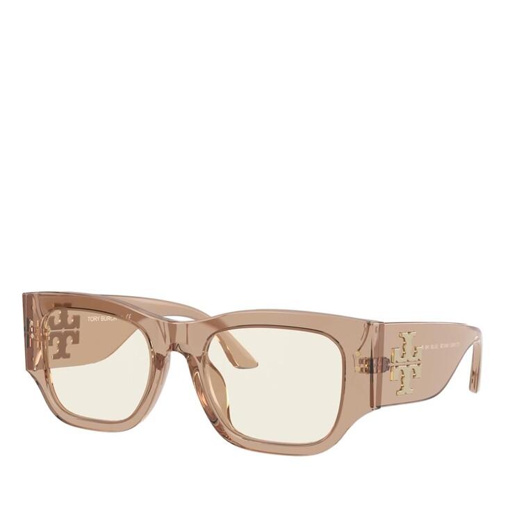 Brillen mit Gläsern, Tory Burch, Blue Blocker Azetat Women Sonne Camel Transparent