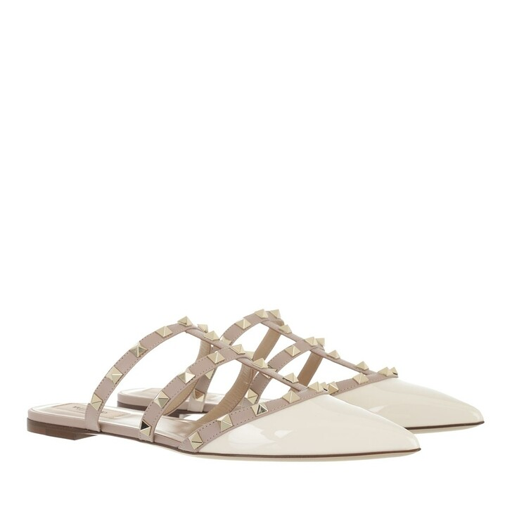 shoes, Valentino Garavani, Rockstud Mules Patent Leather Light Ivory Poudre
