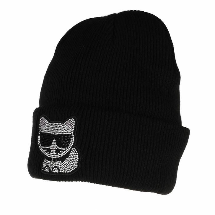 hats, Karl Lagerfeld, K/Ikonik Choup Rhins Beanie A999 Black