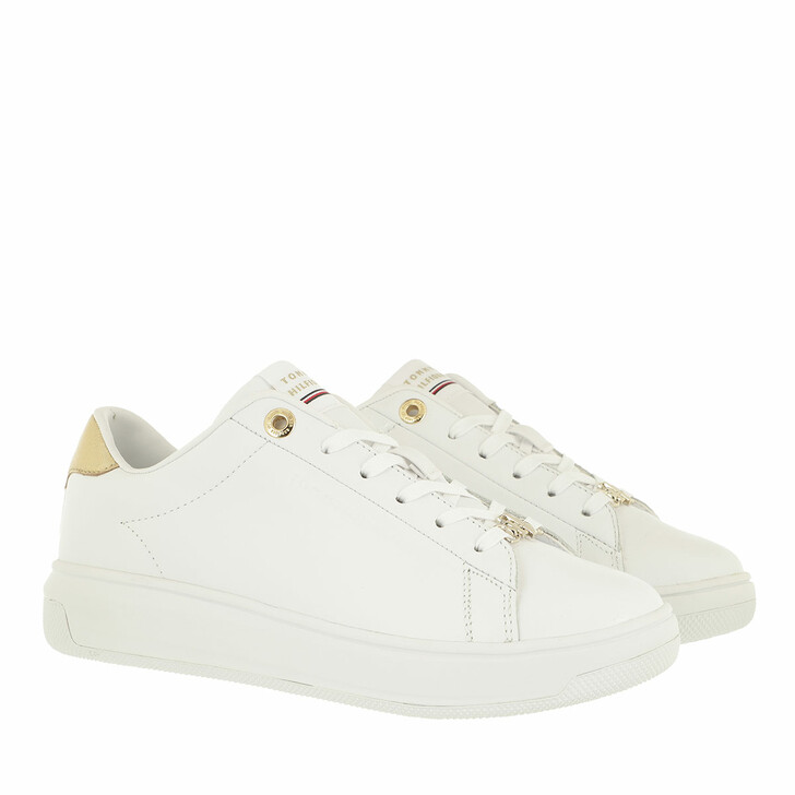 Schuh, Tommy Hilfiger, Metallic Cupsole Sneakers Leather White