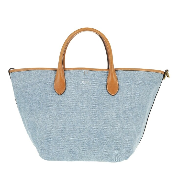 Handtasche, Lauren Ralph Lauren, Medium Open Tote Small Lght Blue/Cuoio