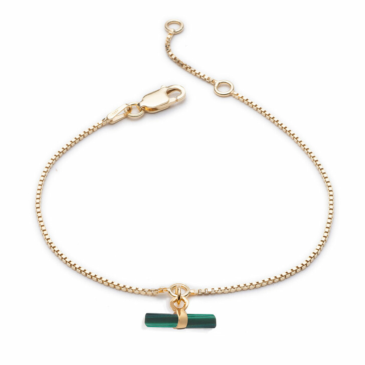 Armreif, Rachel Jackson London, Mini Malachite T-Bar Bracelet Gold