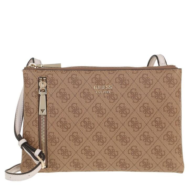 Handtasche, Guess, Naya Double Zip Crossbody Latte/Stone
