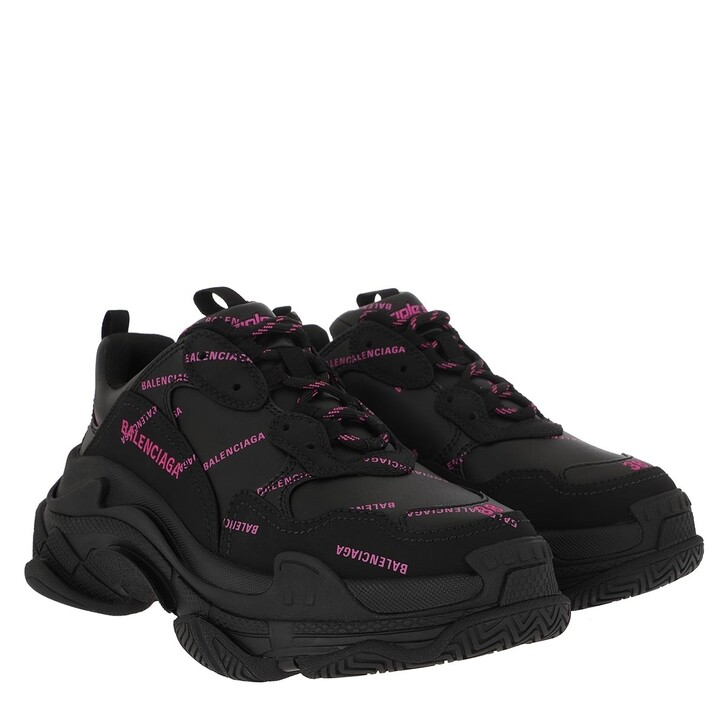 Schuh, Balenciaga, Triple S All Over Logo Sneakers Black/Pink