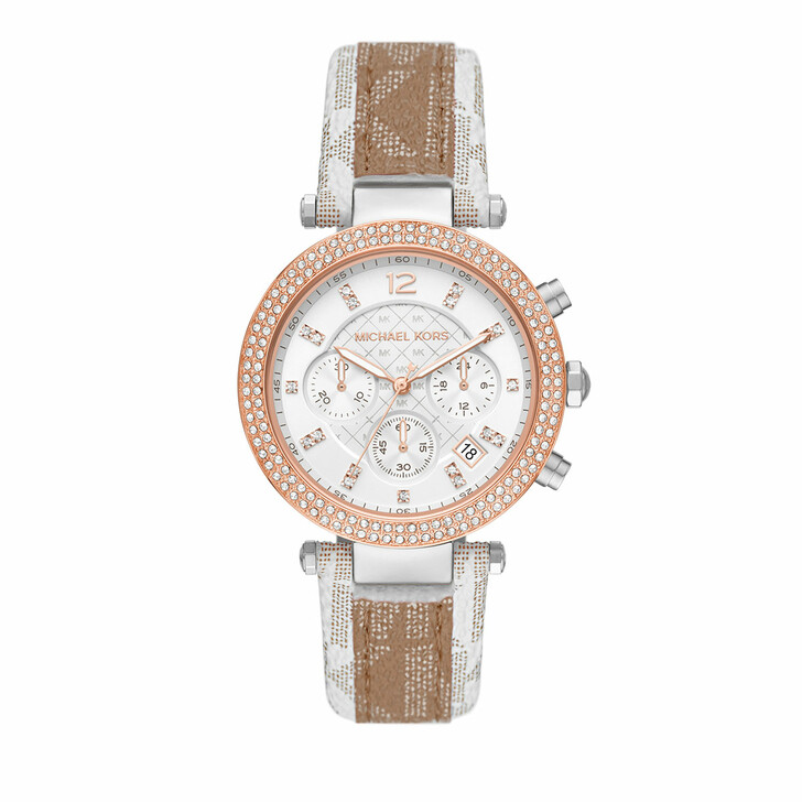 watches, Michael Kors, Parker Chronograph PVC Leather Watch Camel/Multicolored/Silver
