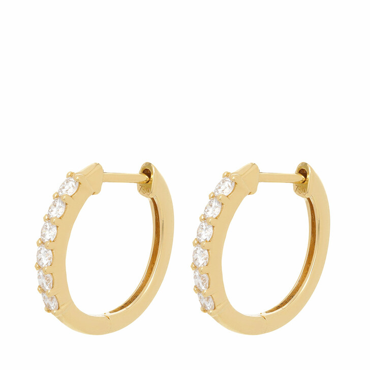 earrings, VOLARE, Earring Hoops 12 Brill ca. 0,48  Yellow Gold