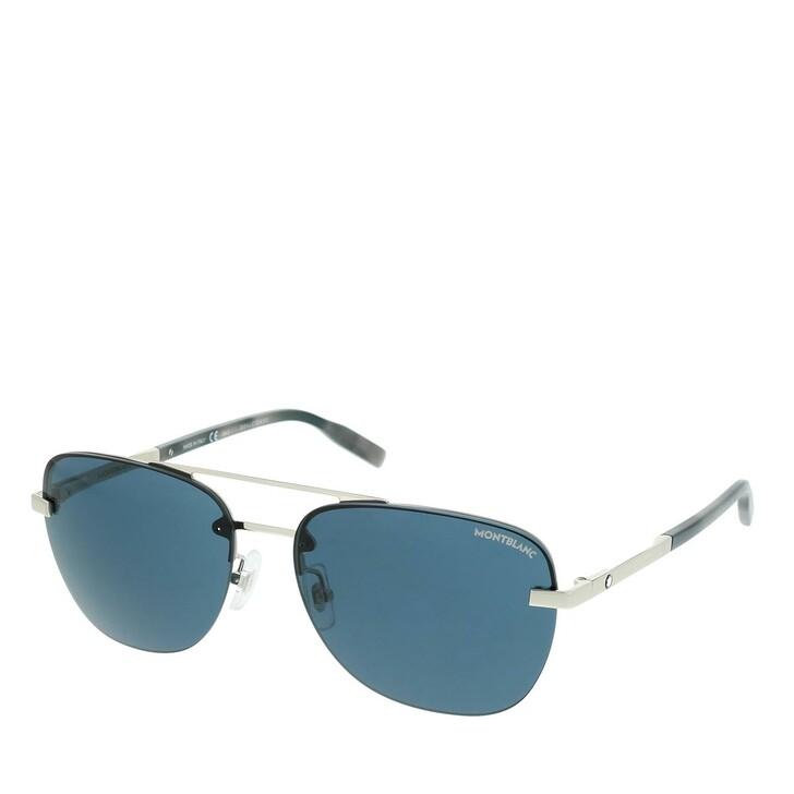 Sonnenbrille, Montblanc, MB0056S-003 60 Man Metal Silver-Silver-Blue