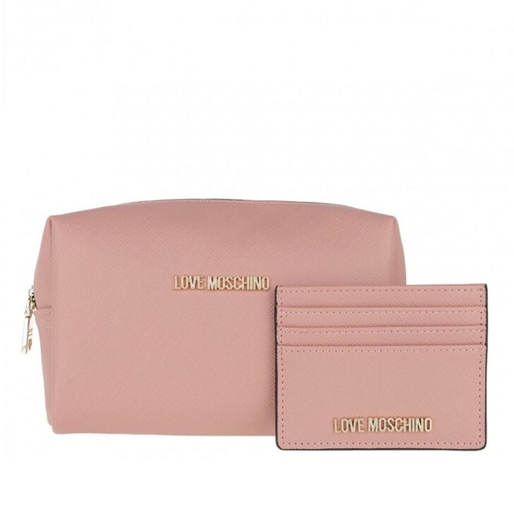 Necessaire, Love Moschino, Wallet And Cosmetic Bag Set Rose