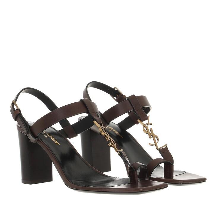 shoes, Saint Laurent, Cassandra Sandals Brown