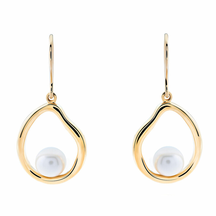 Ohrring, Orphelia, Sterling Silver Earring Fresh Water Pearl Yellow Gold