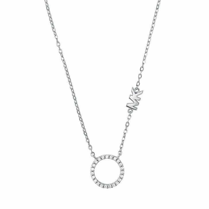 Kette, Michael Kors, Sterling Silver Pavé Circle Pendant Necklace Silver