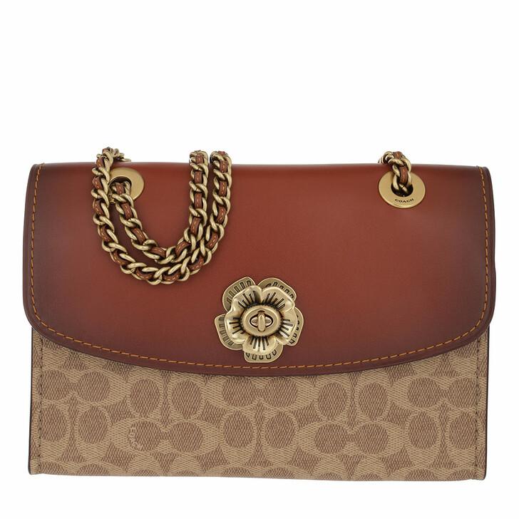 Handtasche, Coach, Colorblock Coated Canvas Shoulder Bag Red