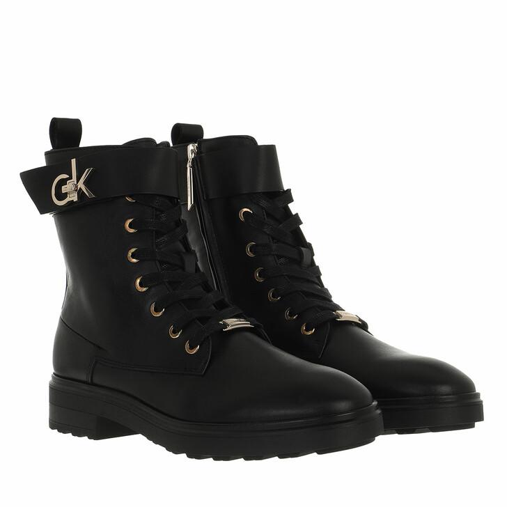 shoes, Calvin Klein, Cleat Biker Boot W/Hdw CK Black