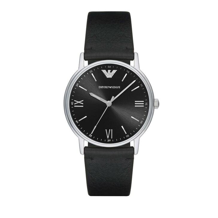watches, Emporio Armani, Men's Three-Hand Leather Watch Black