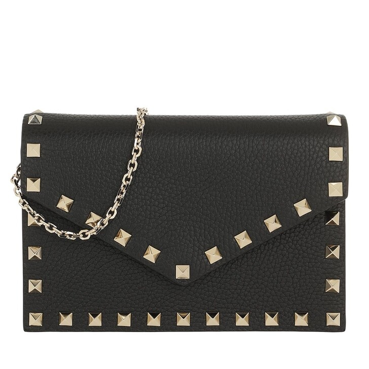 Handtasche, Valentino, Rockstud Envelope Shoulder Bag Nero