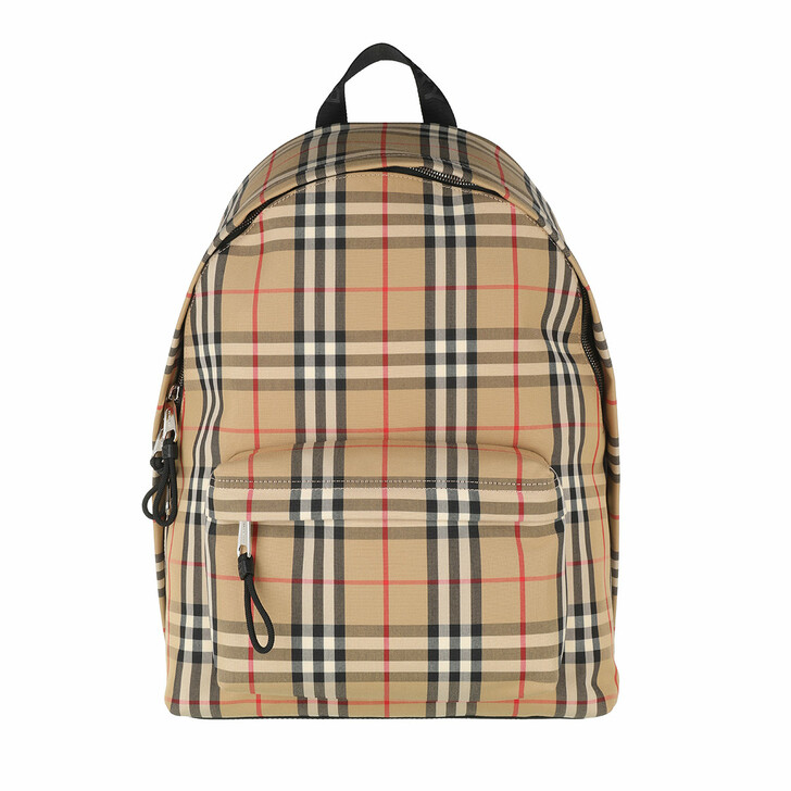 Reisetasche, Burberry, Vintage Check Design Backpack Nylon Vintage Beige
