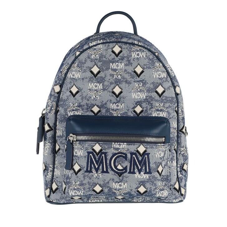bags, MCM, Visetos Jacquard Backpack Small Blue