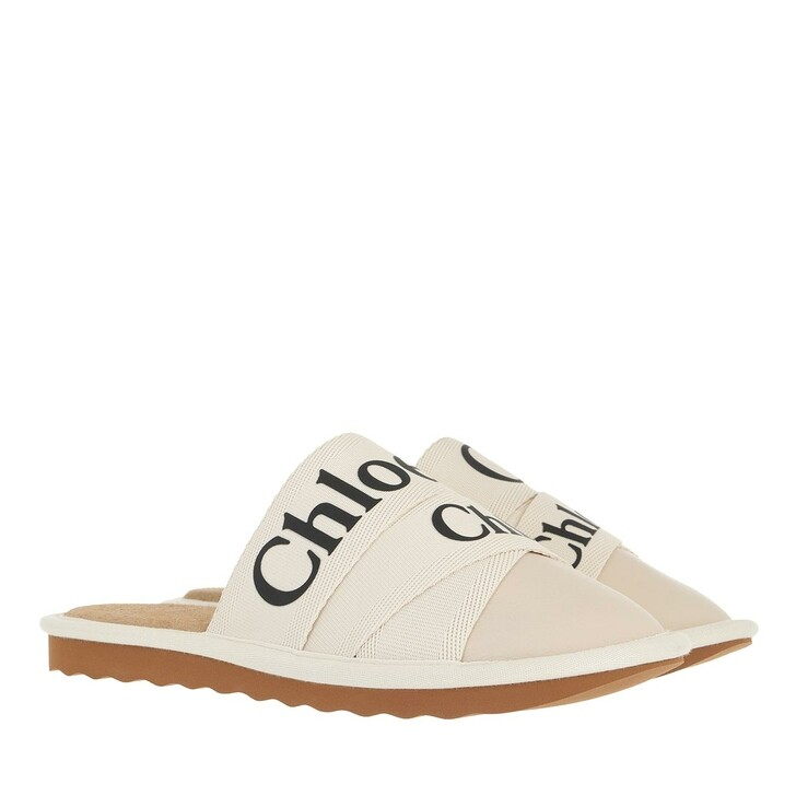 shoes, Chloé, Woddy Mule Slipper Leather Canvas White