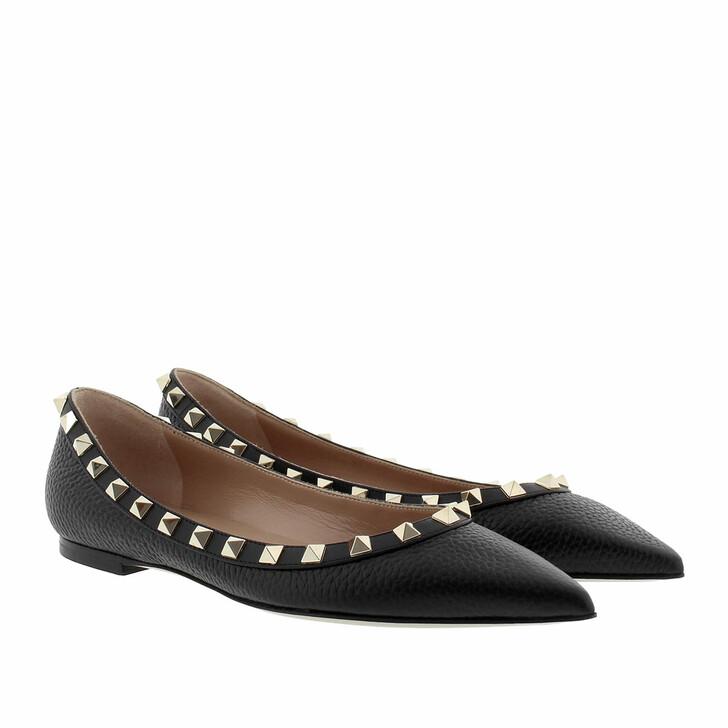 Schuh, Valentino Garavani, Rockstud Grained Leather Ballerina Nero