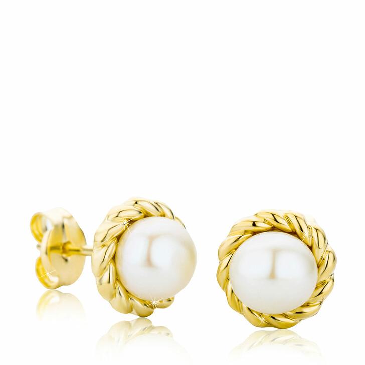 earrings, BELORO, Ladies' 9ct Pearl Stud Earrings Yellow Gold