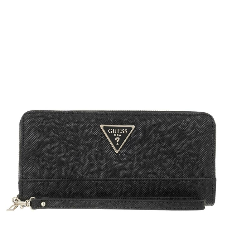 wallets, Guess, Noelle Slg Large Zip Around Black