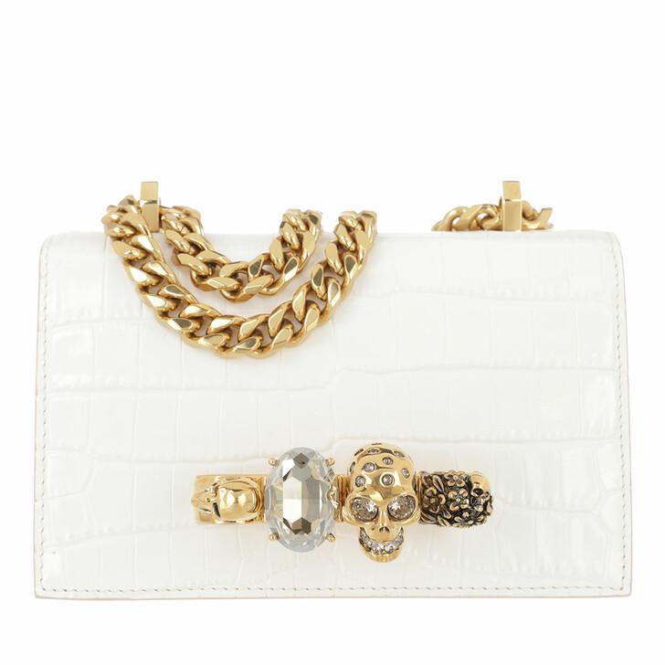 bags, Alexander McQueen, Mini Jewelled Satchel Deep Ivory