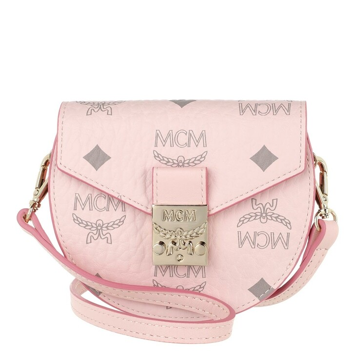 wallets, MCM, Patricia Visetos New Round Wallet W/ Strap Small  Powder Pink