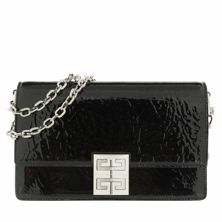 bags, Givenchy, Small 4G Chain Bag Shinny Textured Leather Black