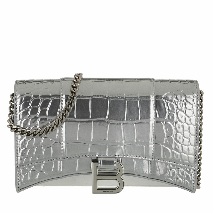 bags, Balenciaga, Hourglass Chain Crossbody Bag Silver